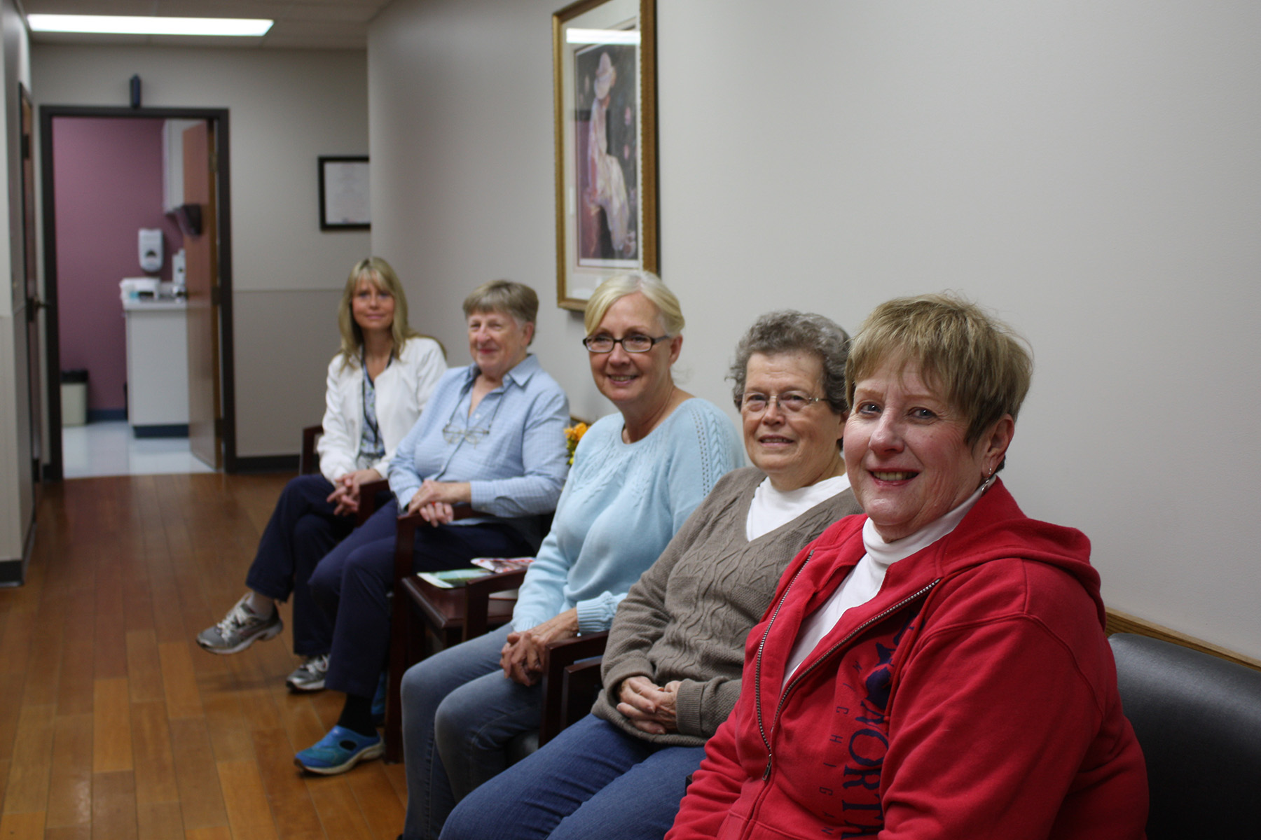 Pictured above displaying the new waiting room furniture in Specialty HealthCare Services are auxiliary members (right to left): Carleen Foster, Judy Hostetler, Billy DeWolf, Gerri Smith, and Specialty HealthCare Services Manager Julie McCracken.